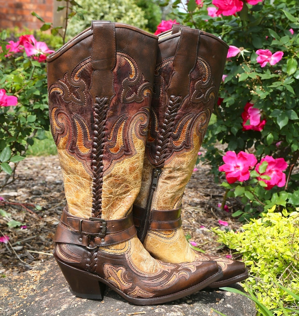 Corral Antique Saddle Cognac Brown Harness and Studs Boots G1229 Image