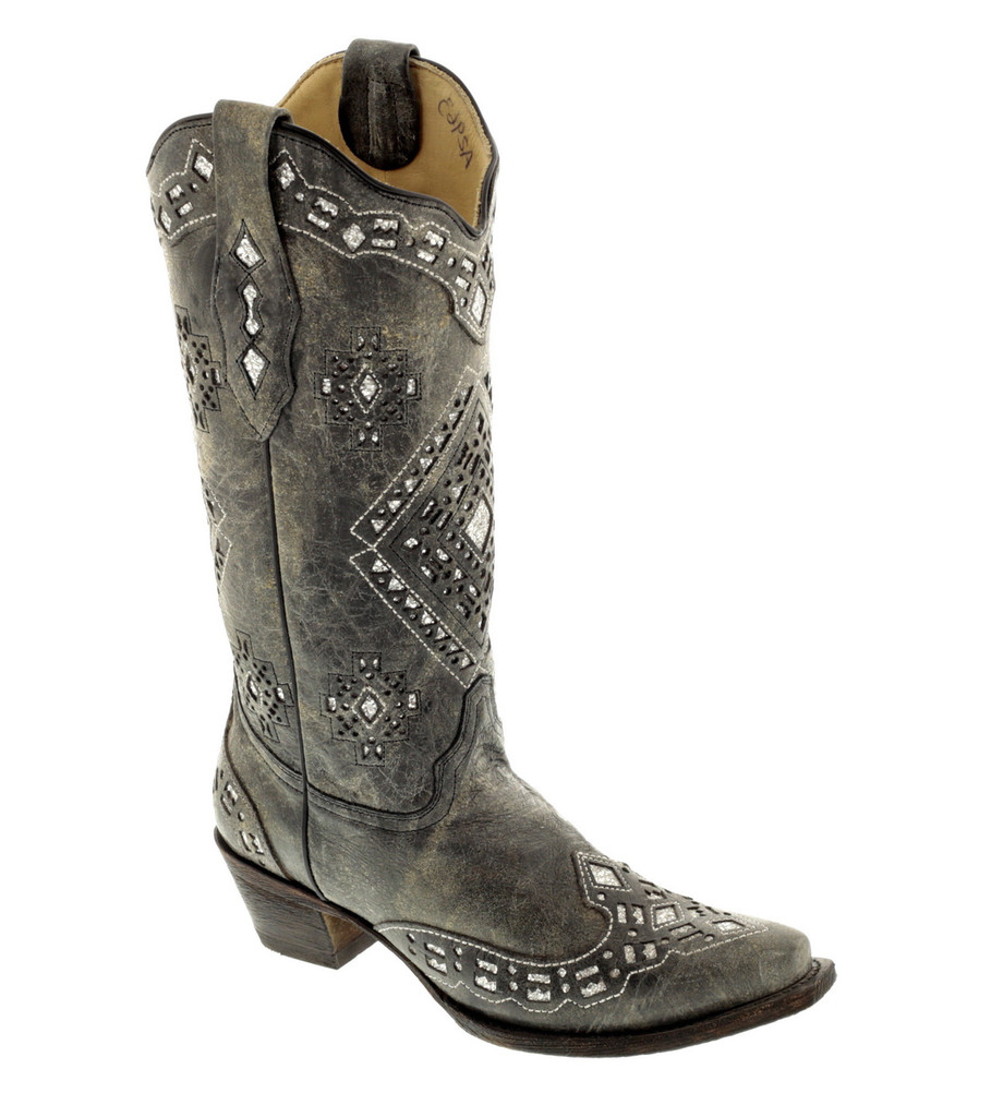 Corral Black Silver Glitter Inlay Boots A2963 Picture
