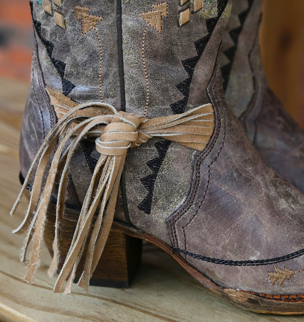 Corral Cango Tobacco Laser Woven Boots A2992 Fringe