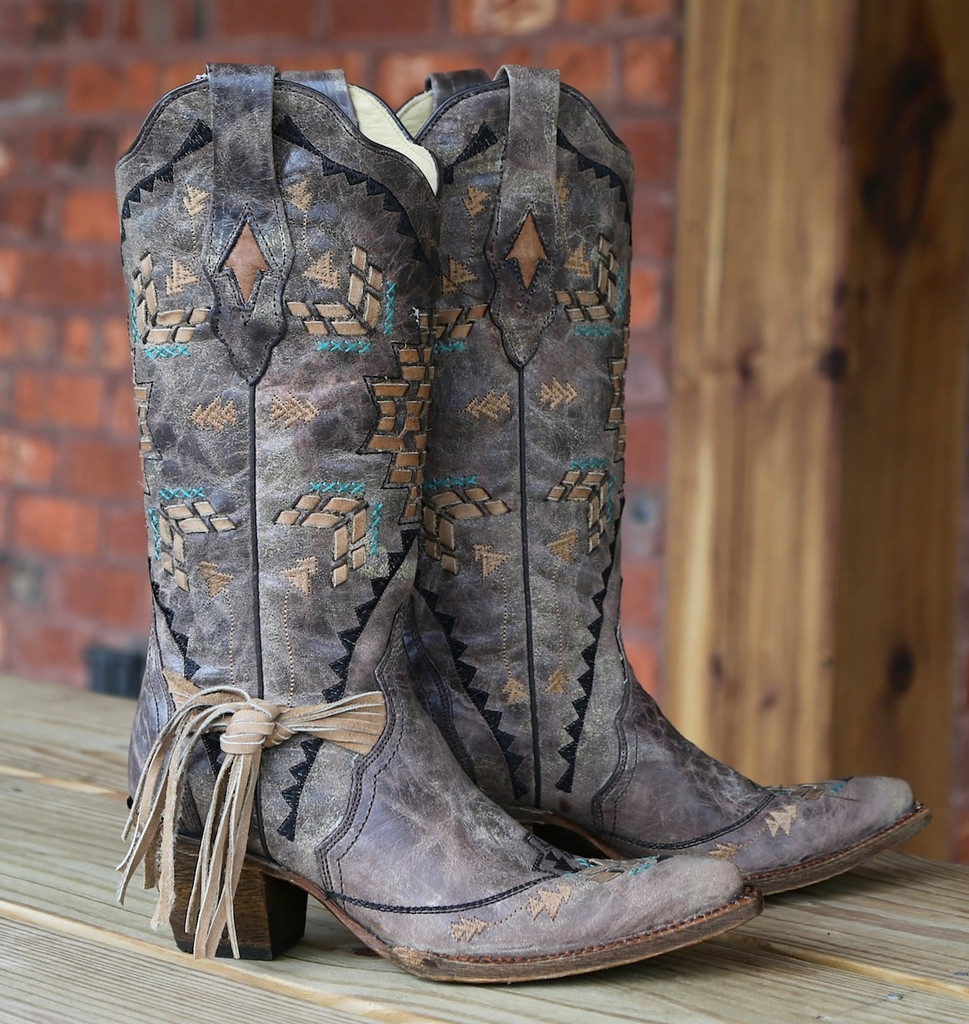 Corral Cango Tobacco Laser Woven Boots A2992 Image