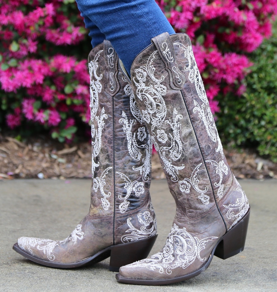 Corral Brown White Full Stitch and Studs Boots G1027 Side