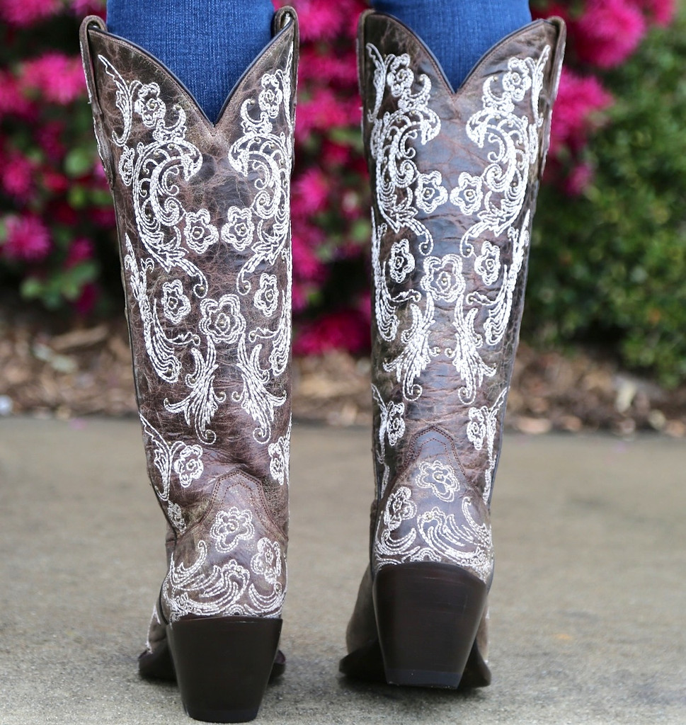 Corral Brown White Full Stitch and Studs Boots G1027 Heel