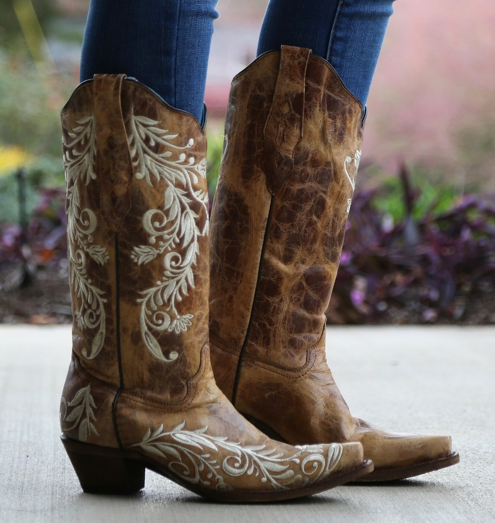 Corral Antique Saddle Sand Side Embroidery Boots A3072 Picture