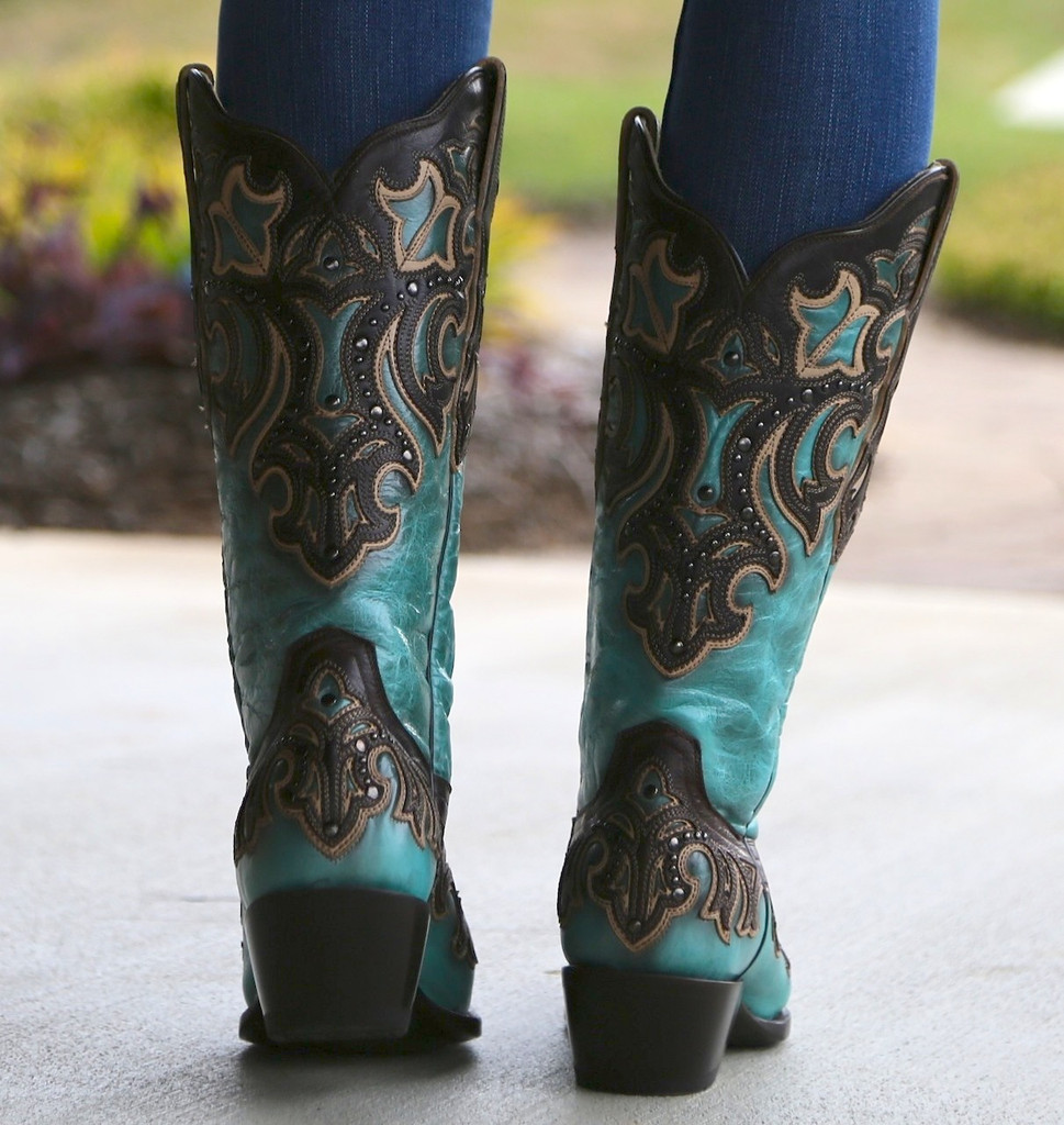 Corral Turquoise Chocolate Inlay and Studs Boots G1184 Heel