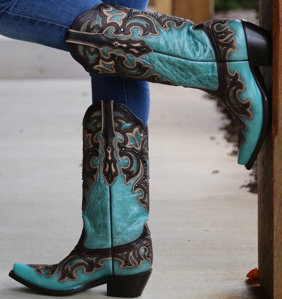 Corral Turquoise Chocolate Inlay and Studs Boots G1184 Image
