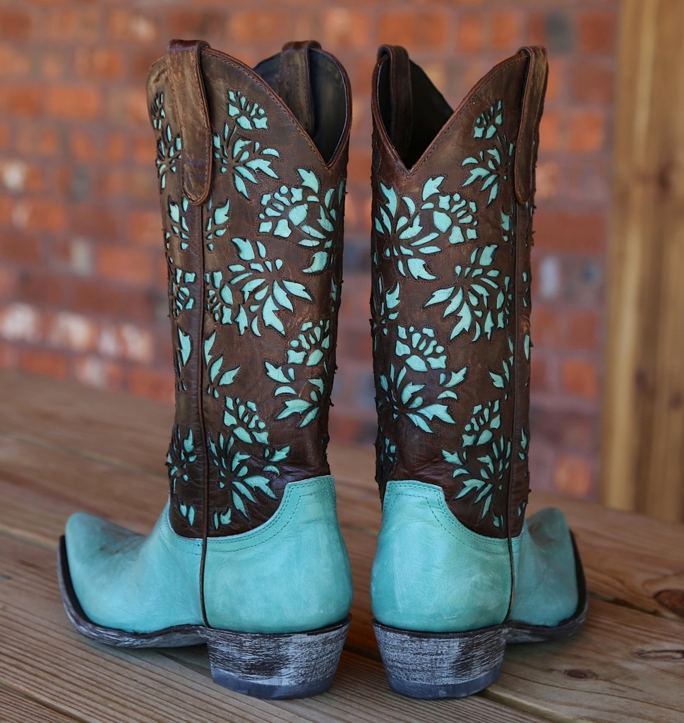 "Old Gringo Mary Lou Zipper 13"" Aqua Brass Boots L2101-1 Heel"