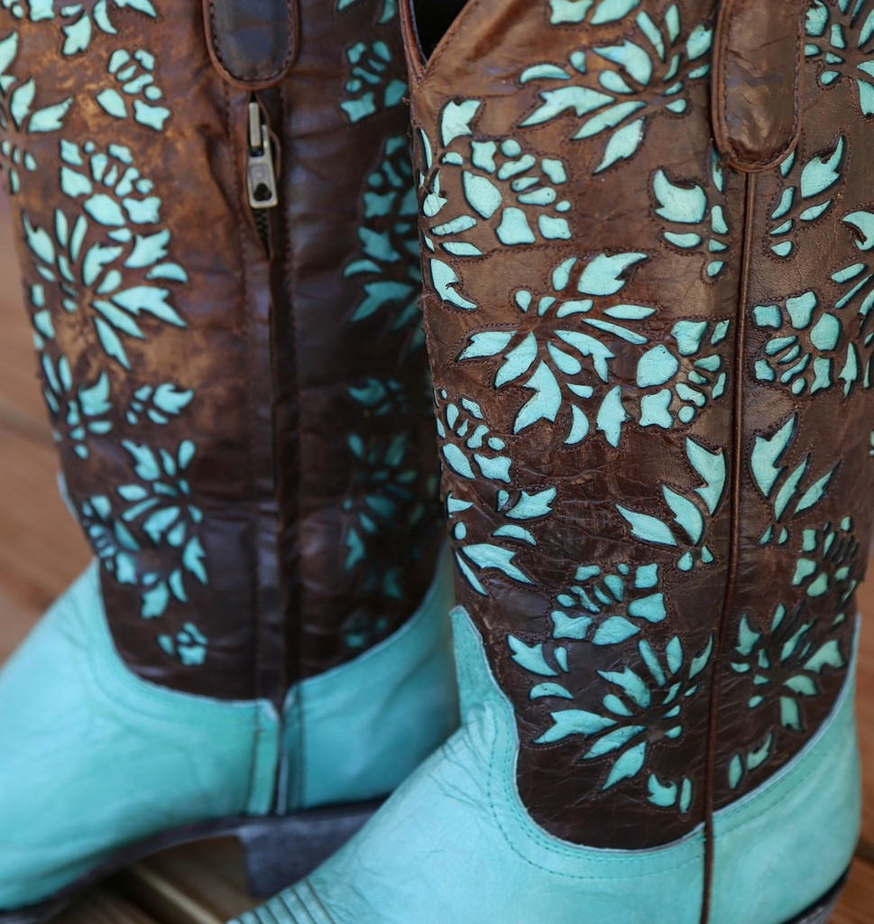 "Old Gringo Mary Lou Zipper 13"" Aqua Brass Boots L2101-1"