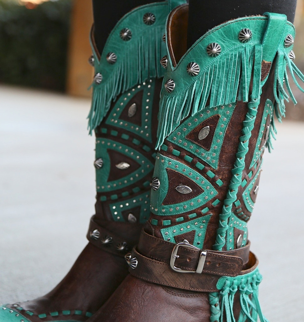 Old Gringo Buho Brass Turquoise Boots L2249-2 Collar