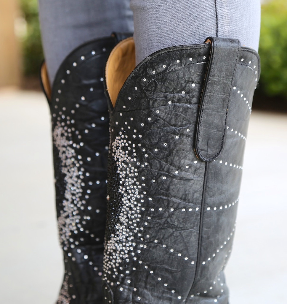 "Old Gringo Martha Crystal 13"" Black Boots L2192-2 Collar"