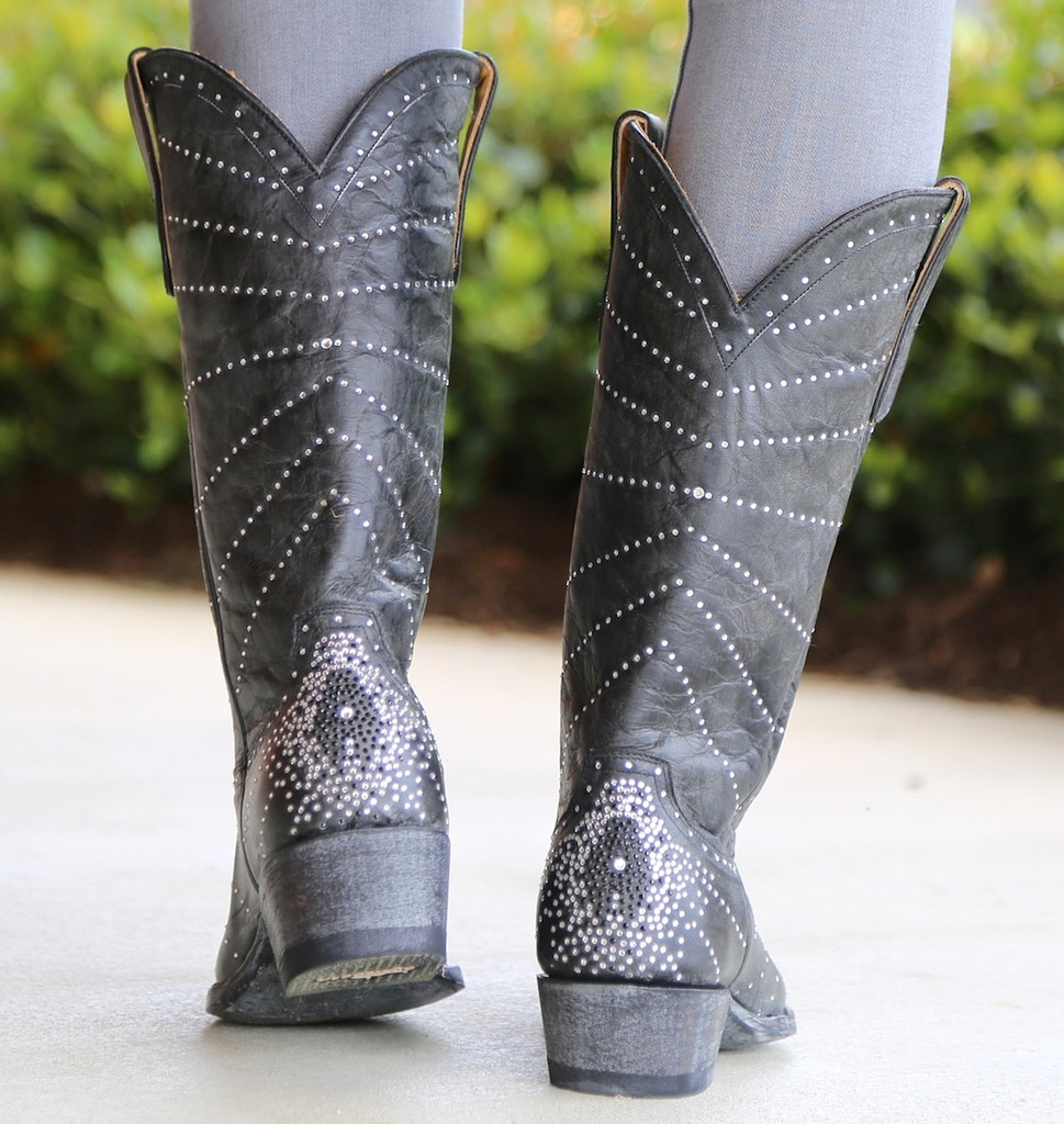 """Old Gringo Martha Crystal 13"""" Black Boots L2192-2 Heel"""