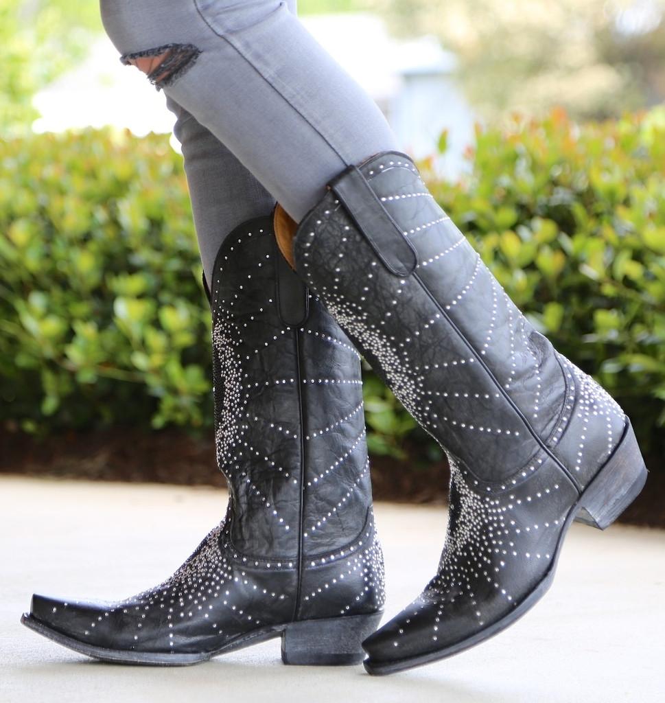 "Old Gringo Martha Crystal 13"" Black Boots L2192-2"