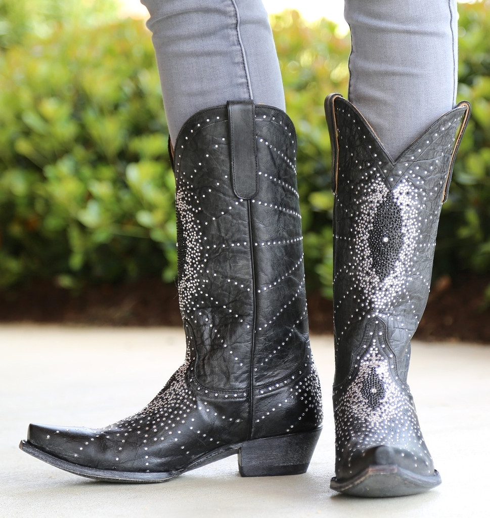 """Old Gringo Martha Crystal 13"""" Black Boots L2192-2 Picture"""