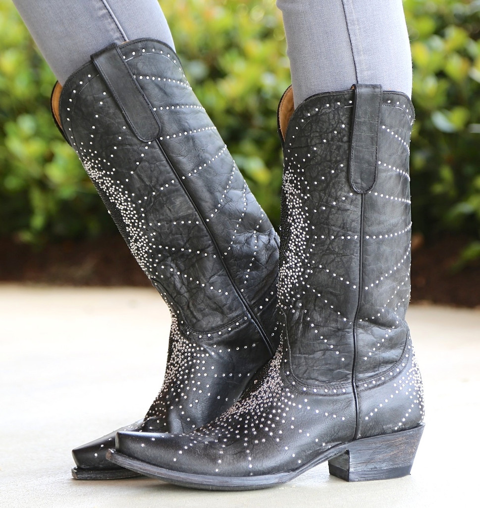 """Old Gringo Martha Crystal 13"""" Black Boots L2192-2 Side"""