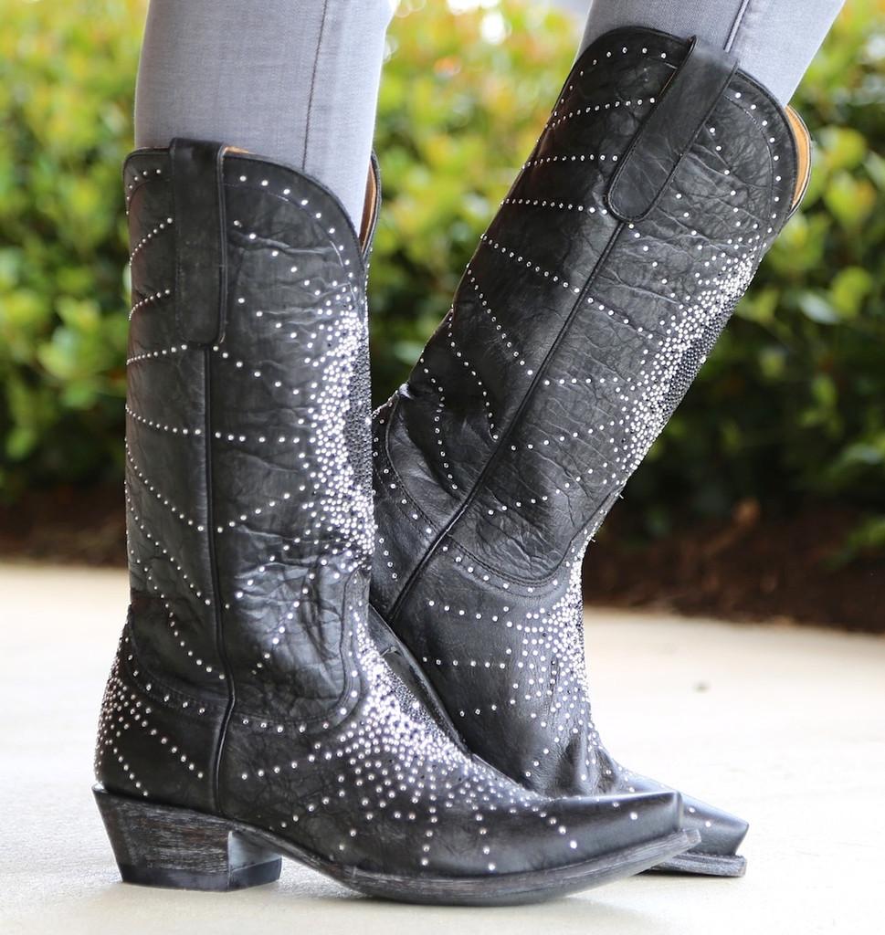 "Old Gringo Martha Crystal 13"" Black Boots L2192-2 Photo"