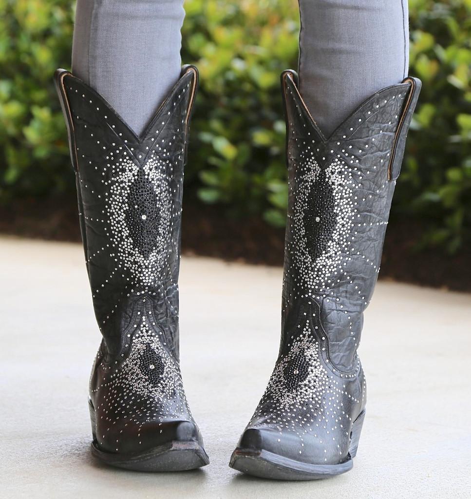 """Old Gringo Martha Crystal 13"""" Black Boots L2192-2 Front"""