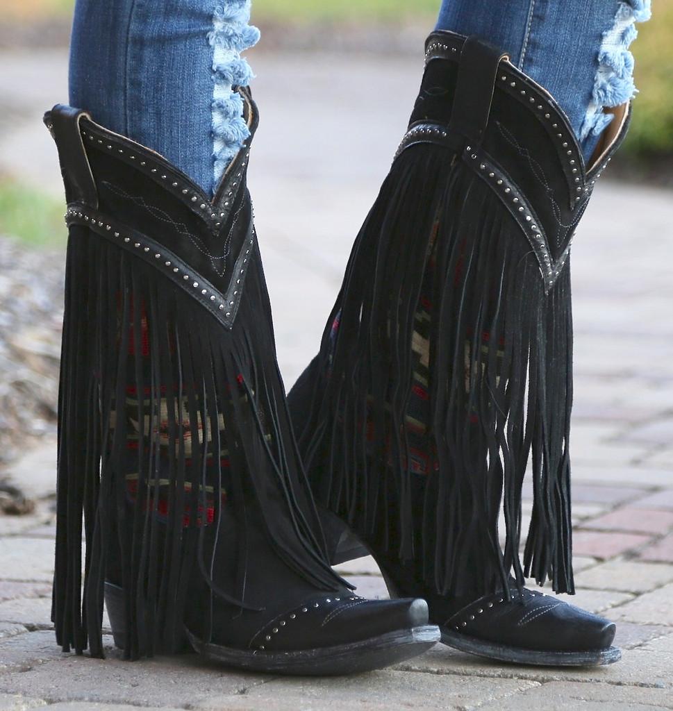 Old Gringo Crudge Black Boots L2257-2 Fringe