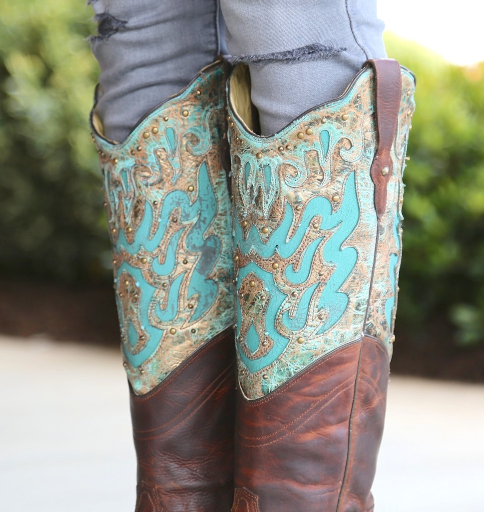 Corral Brown Turquoise Inlay Double Shaft Boots R1332 Collar