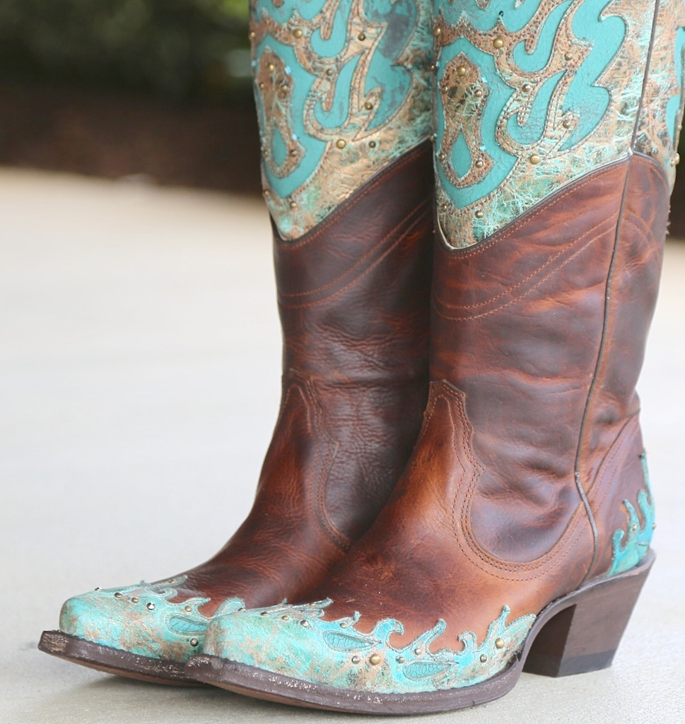 Corral Brown Turquoise Inlay Double Shaft Boots R1332 Toe