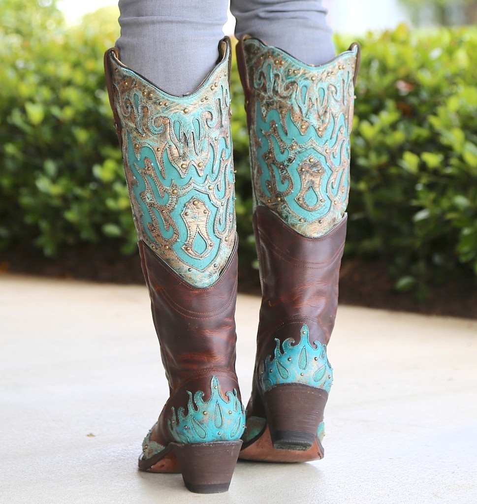 Corral Brown Turquoise Inlay Double Shaft Boots R1332 Heel