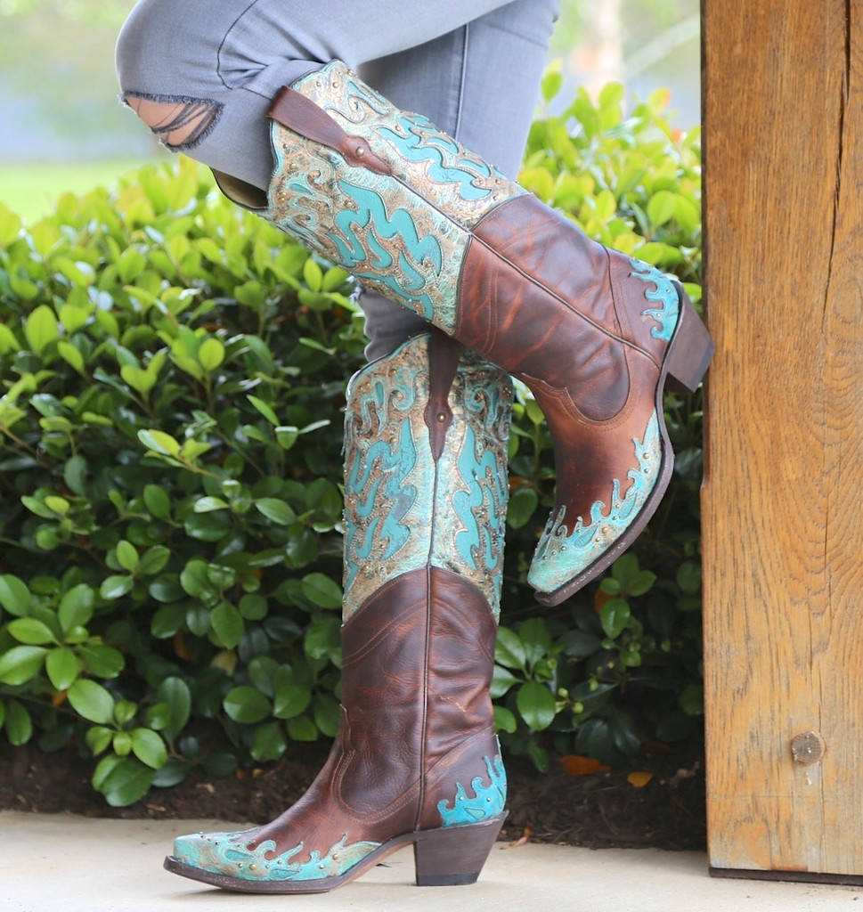 Corral Brown Turquoise Inlay Double Shaft Boots R1332 Photo