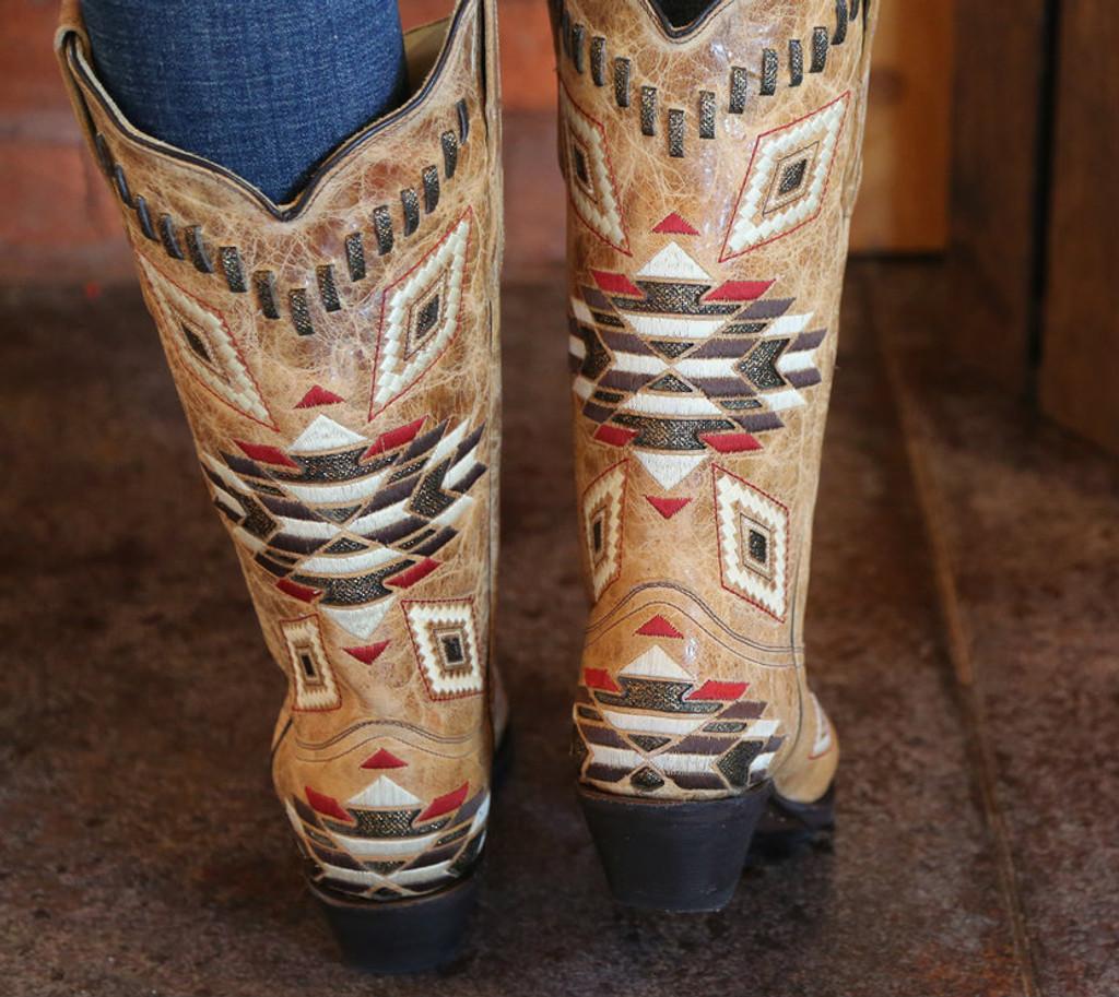 Corral Antique Saddle Aztec Pattern E1010 Heel Image