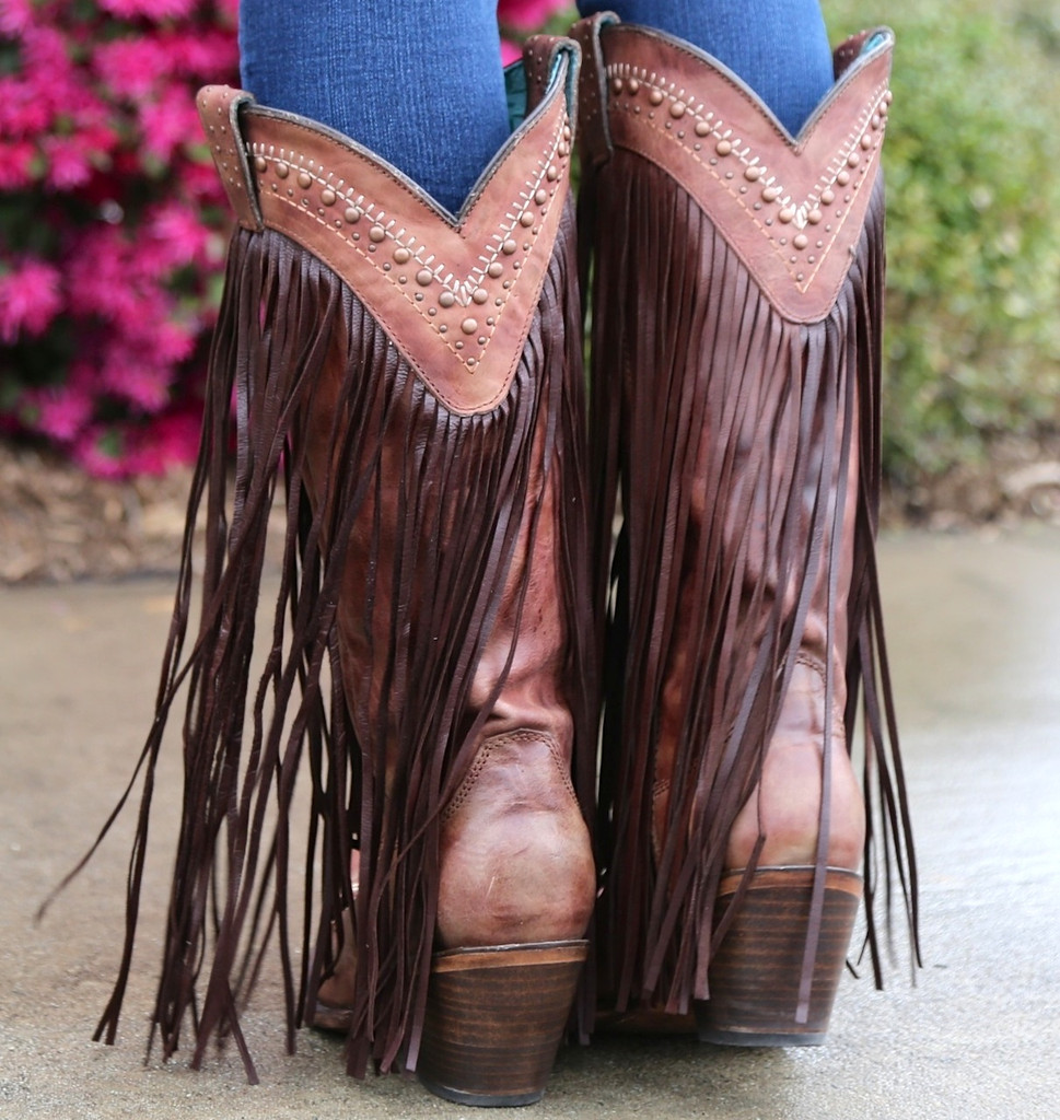 Corral Cognac Multicolor Crystal Pattern and Fringe Boots C2929 Heel