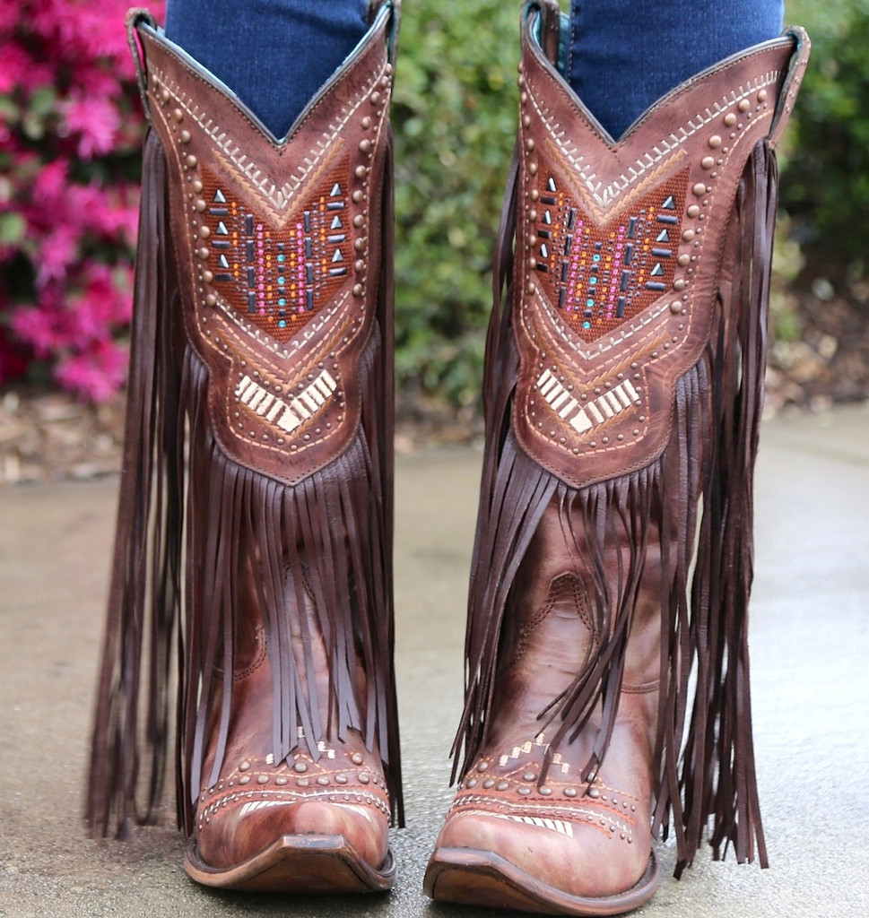Corral Cognac Multicolor Crystal Pattern and Fringe Boots C2929 Picture