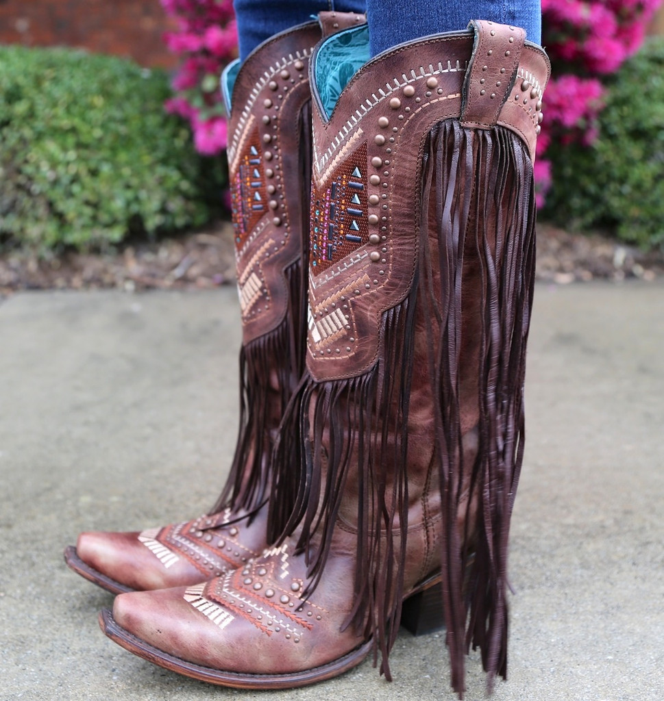 Corral Cognac Multicolor Crystal Pattern and Fringe Boots C2929