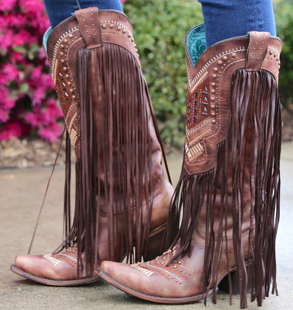 Corral Cognac Multicolor Crystal Pattern and Fringe Boots C2929 Image