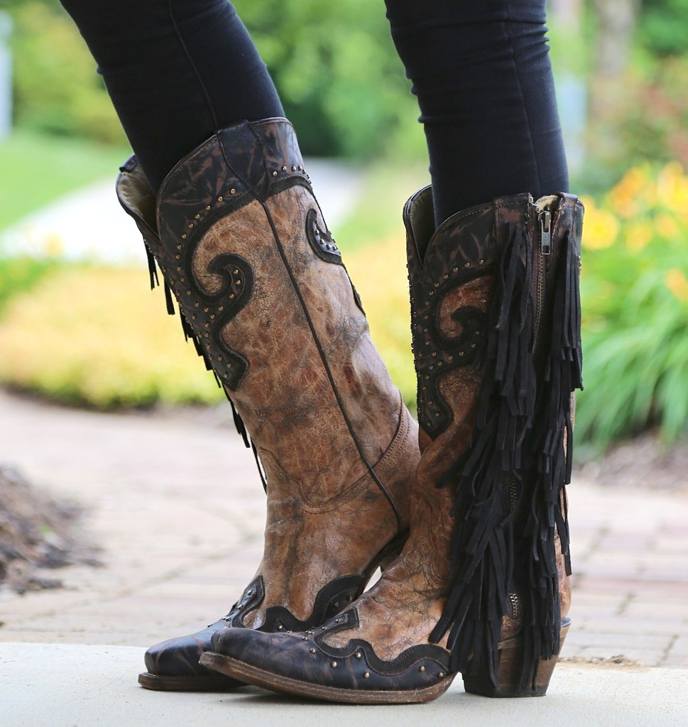 Corral Brown Chocolate Studs and Side Fringe Boots A3149 Photo