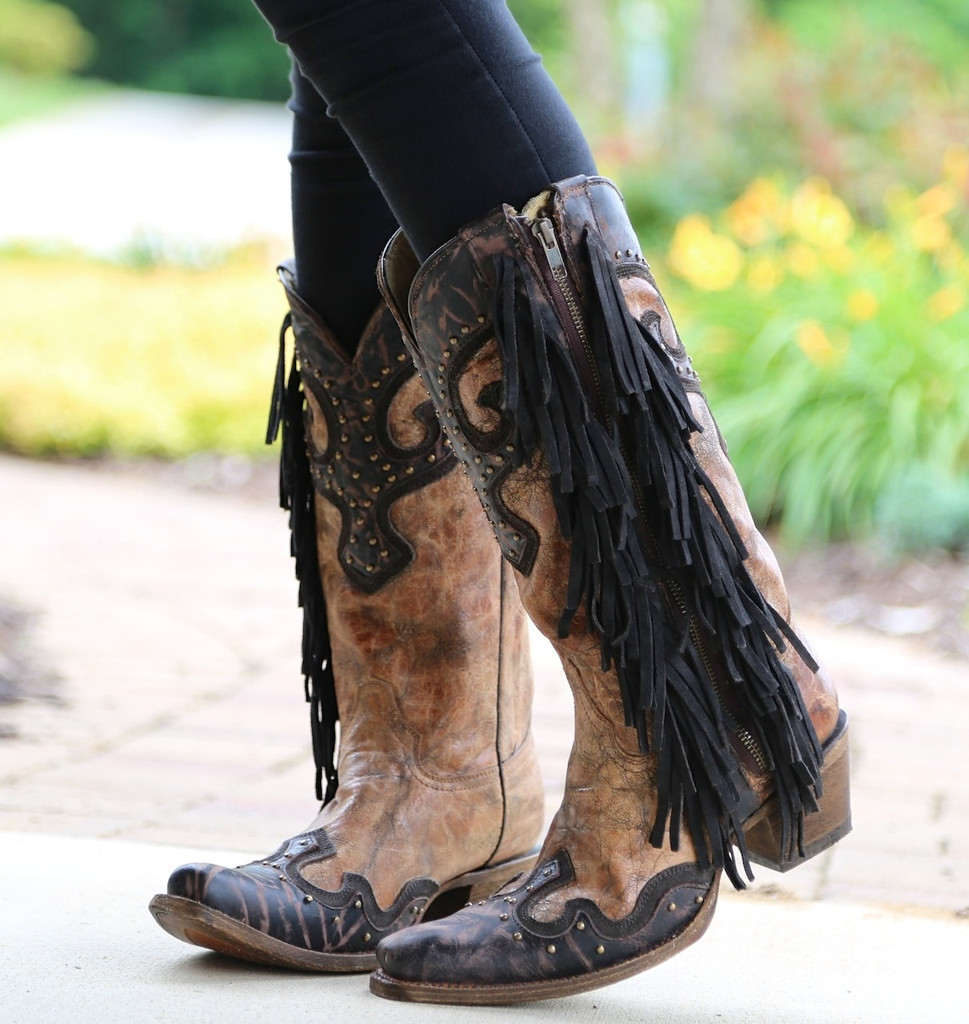 Corral Brown Chocolate Studs and Side Fringe Boots A3149 Picture