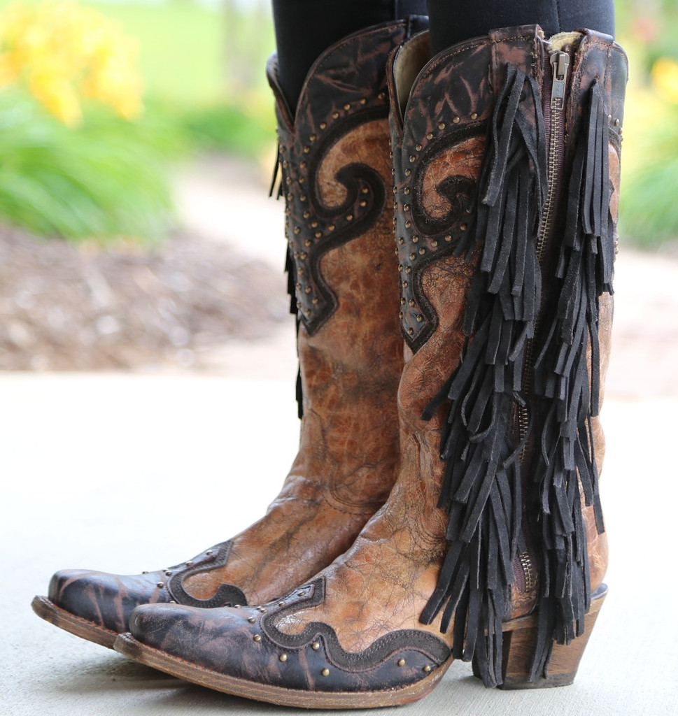 Corral Brown Chocolate Studs and Side Fringe Boots A3149 Side 2