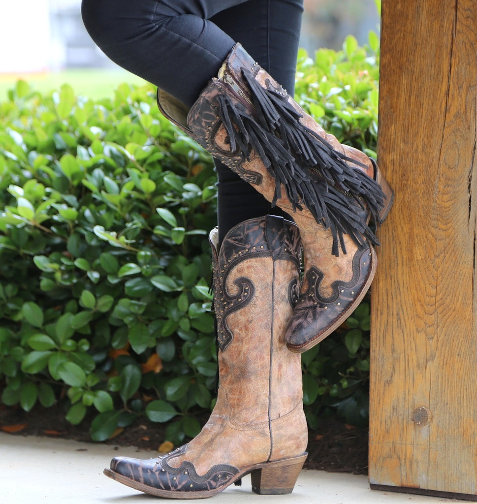Corral Brown Chocolate Studs and Side Fringe Boots A3149 Side