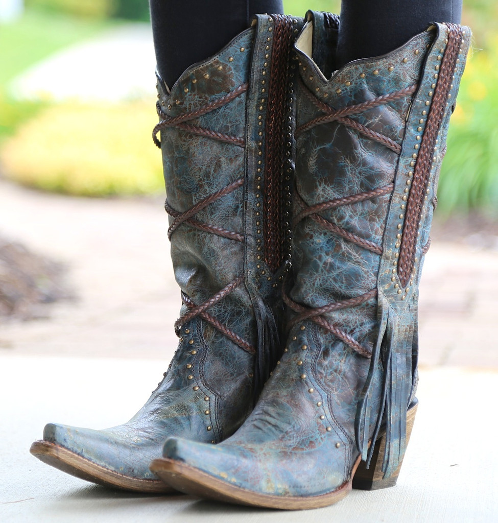 Corral Blue Brown Braiding and Fringe Boots A3147