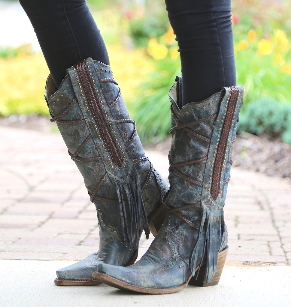 Corral Blue Brown Braiding and Fringe Boots A3147 Side