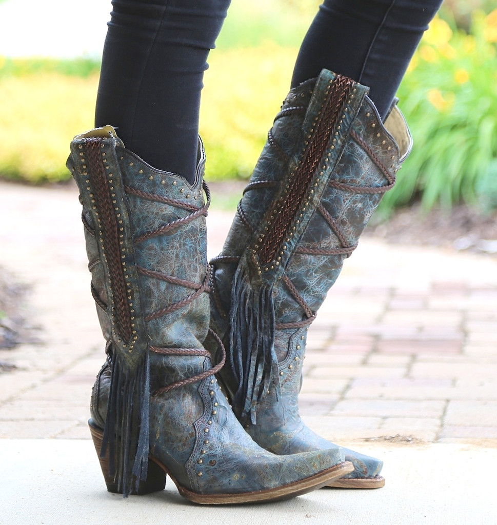 Corral Blue Brown Braiding and Fringe Boots A3147 Image