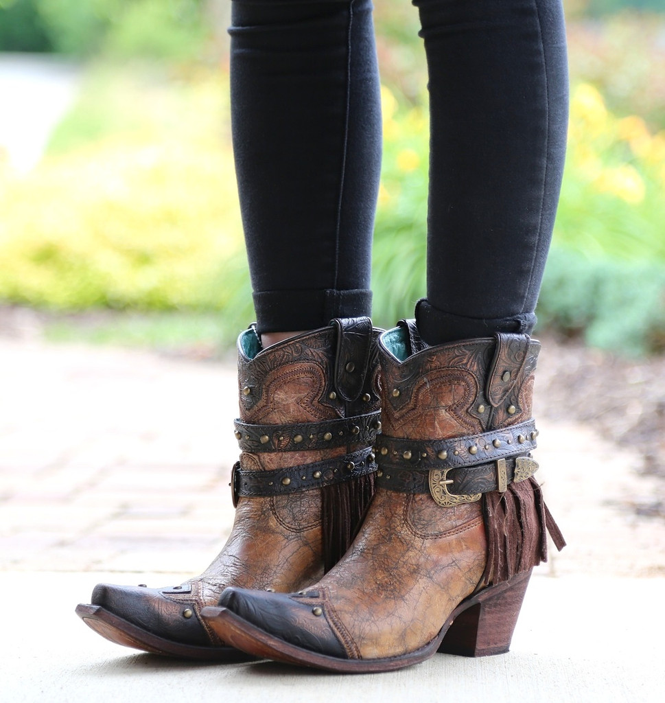 Corral Metallic Cognac Strap with Fringe and Studs Boots C2880 Side
