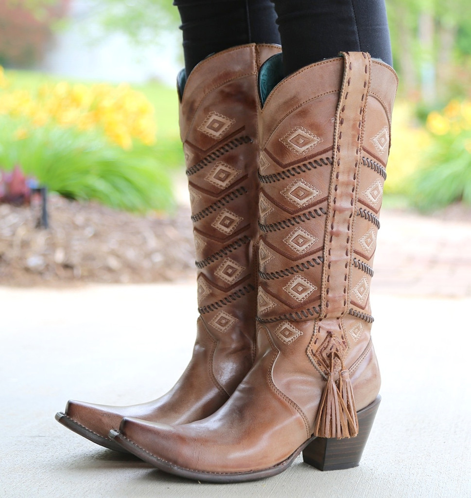 Corral Tan Beige Diamonds and Whip Stitch Boots C2952 Side