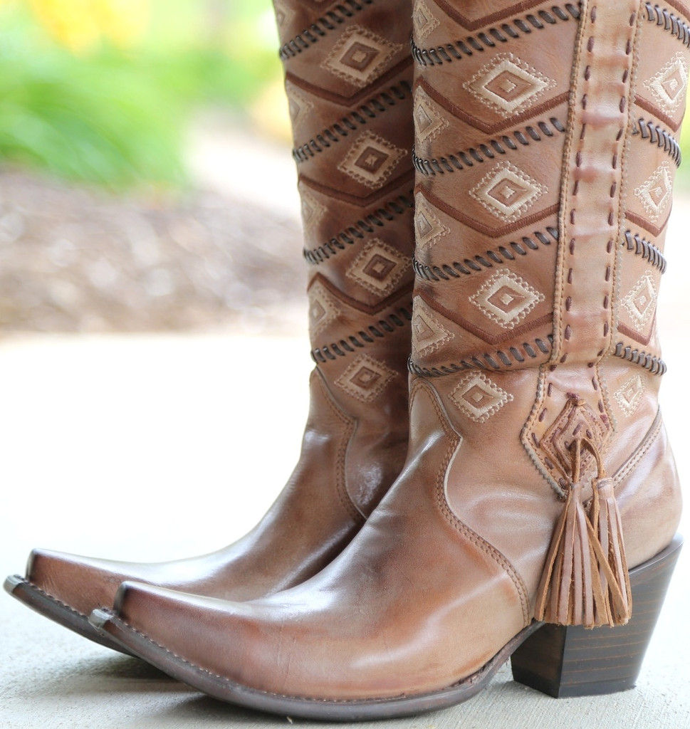 Corral Tan Beige Diamonds and Whip Stitch Boots C2952 Toe