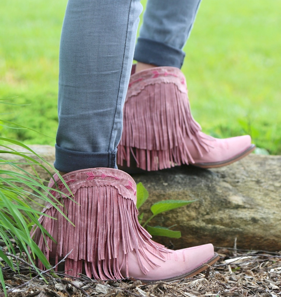 Junk Gypsy by Lane Spitfire Rose Pink Boots JG0007G Fringe