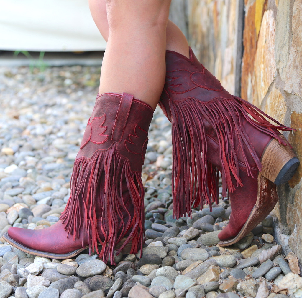 Junk Gypsy by Lane Dreamer Red Boots JG0004E Fringe