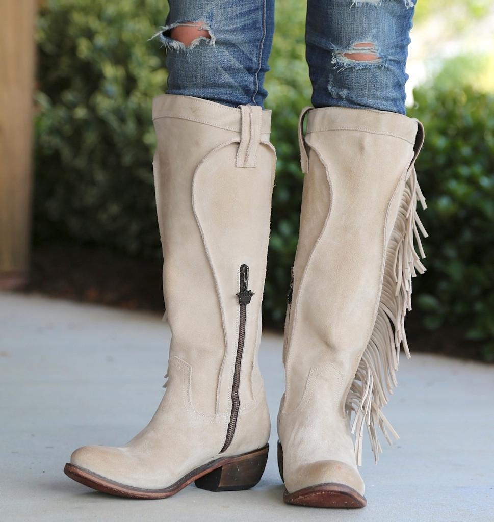 Junk Gypsy by Lane Texas Tumbleweed Bone Boots JG0009D Front