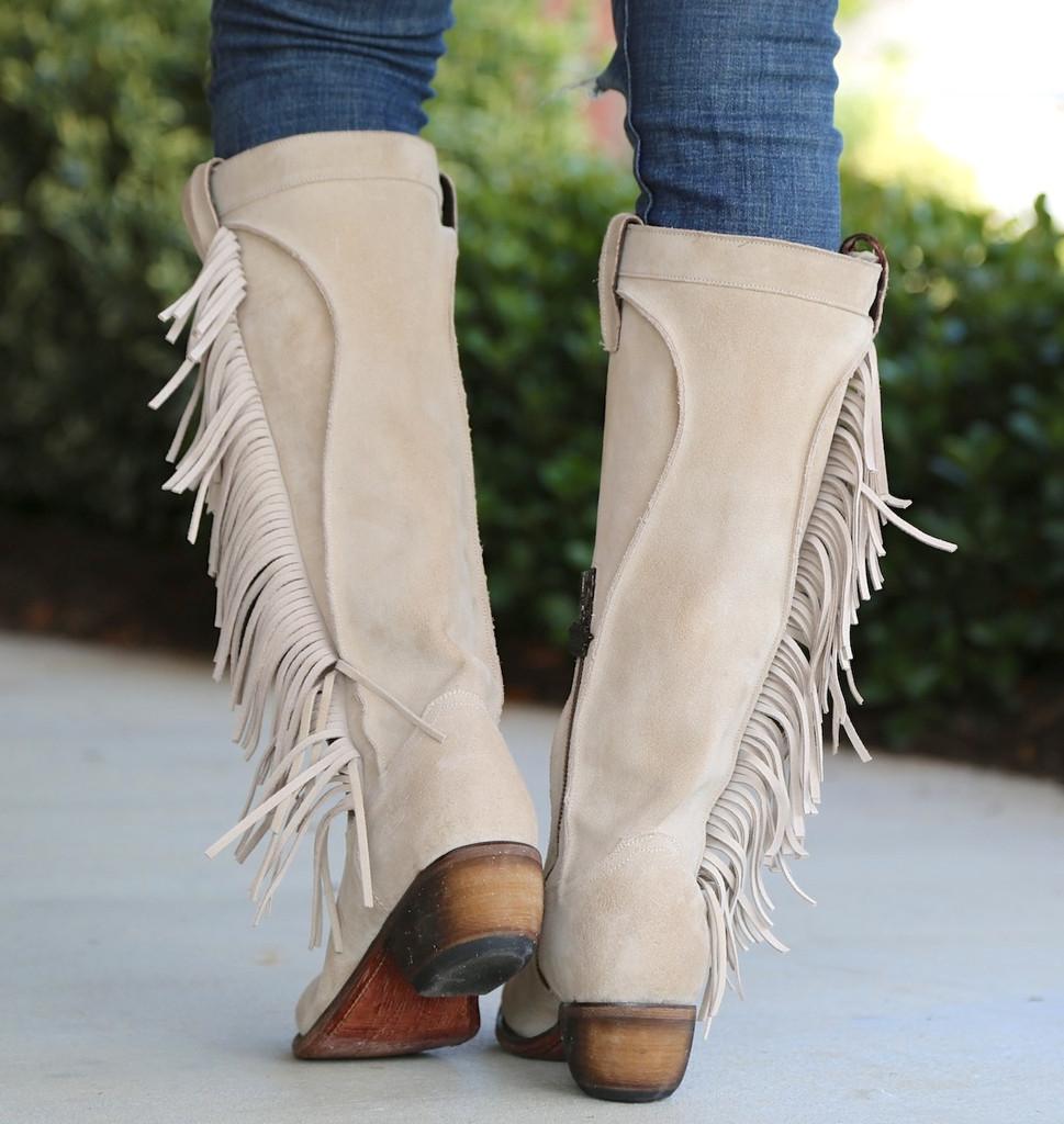 Junk Gypsy by Lane Texas Tumbleweed Bone Boots JG0009D Heel