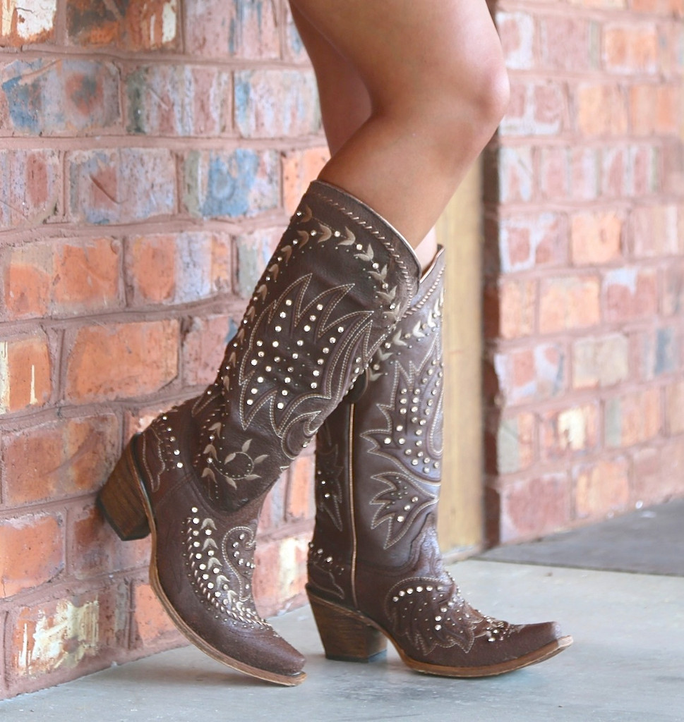 Corral Brown Bone Side Embroidery and Crystals Boots C2927 Picture