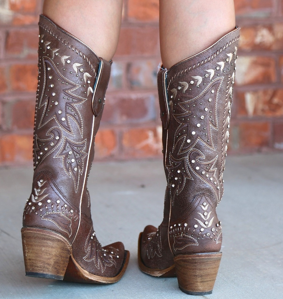 Corral Brown Bone Side Embroidery and Crystals Boots C2927 Heel