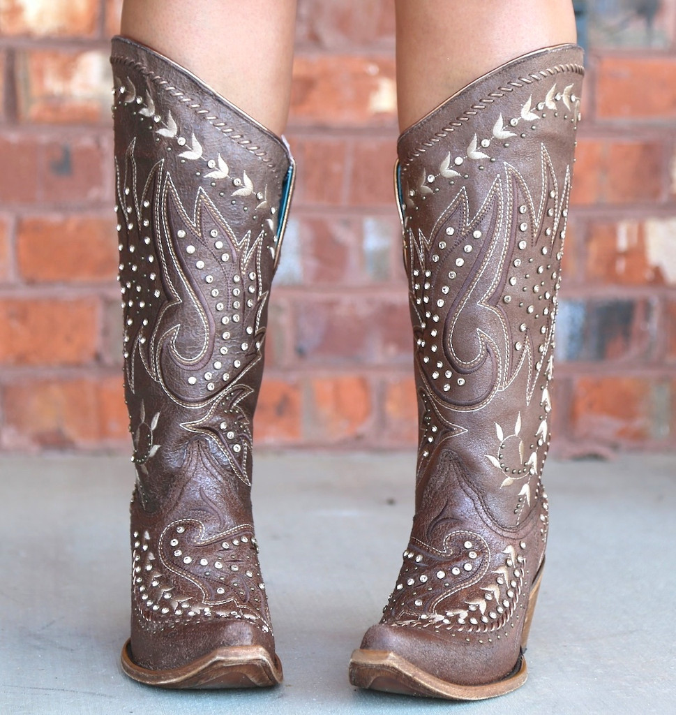 Corral Brown Bone Side Embroidery and Crystals Boots C2927 Toe