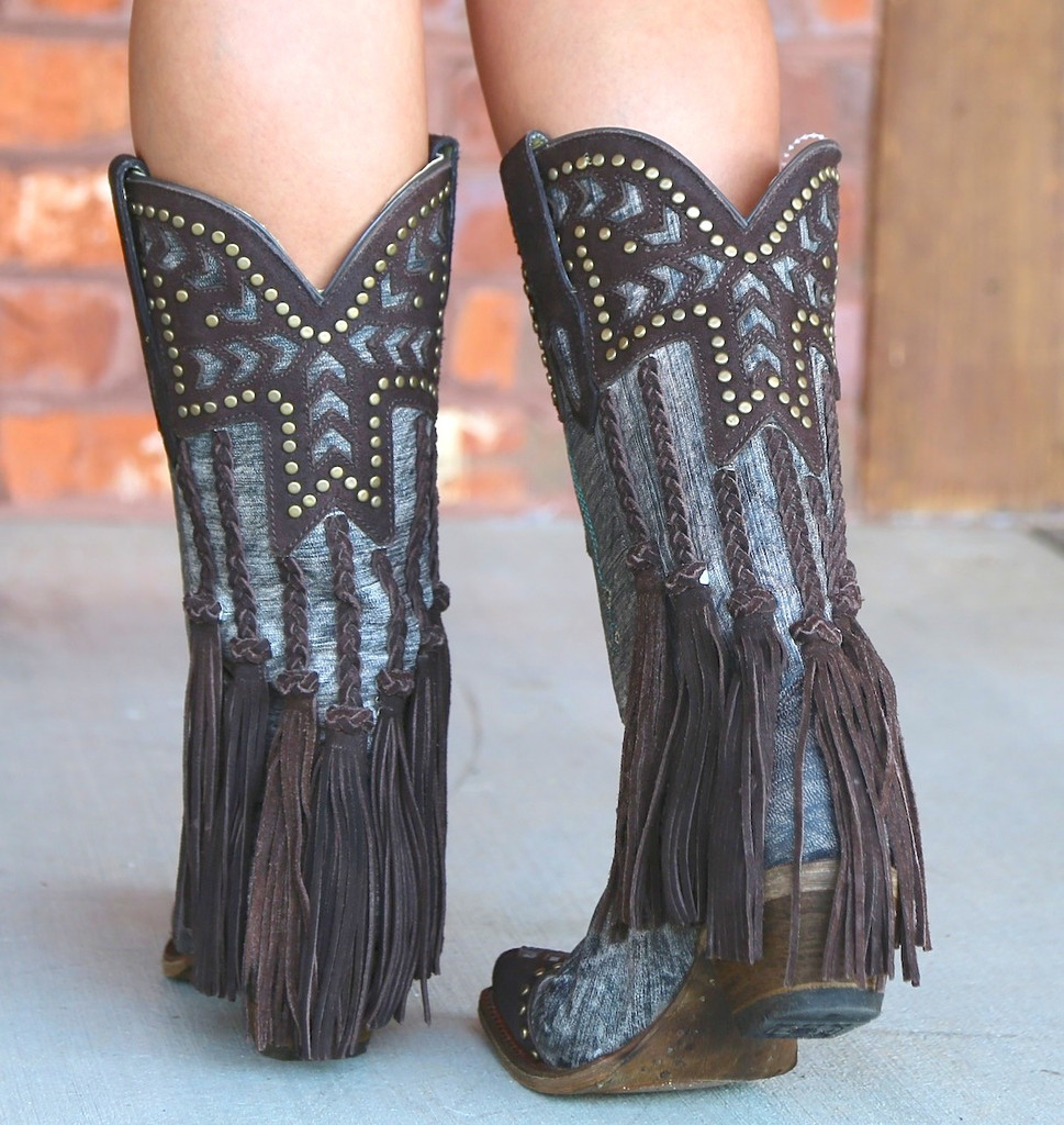Corral Chocolate Back Braiding and Fringe Boots A3127 Heel