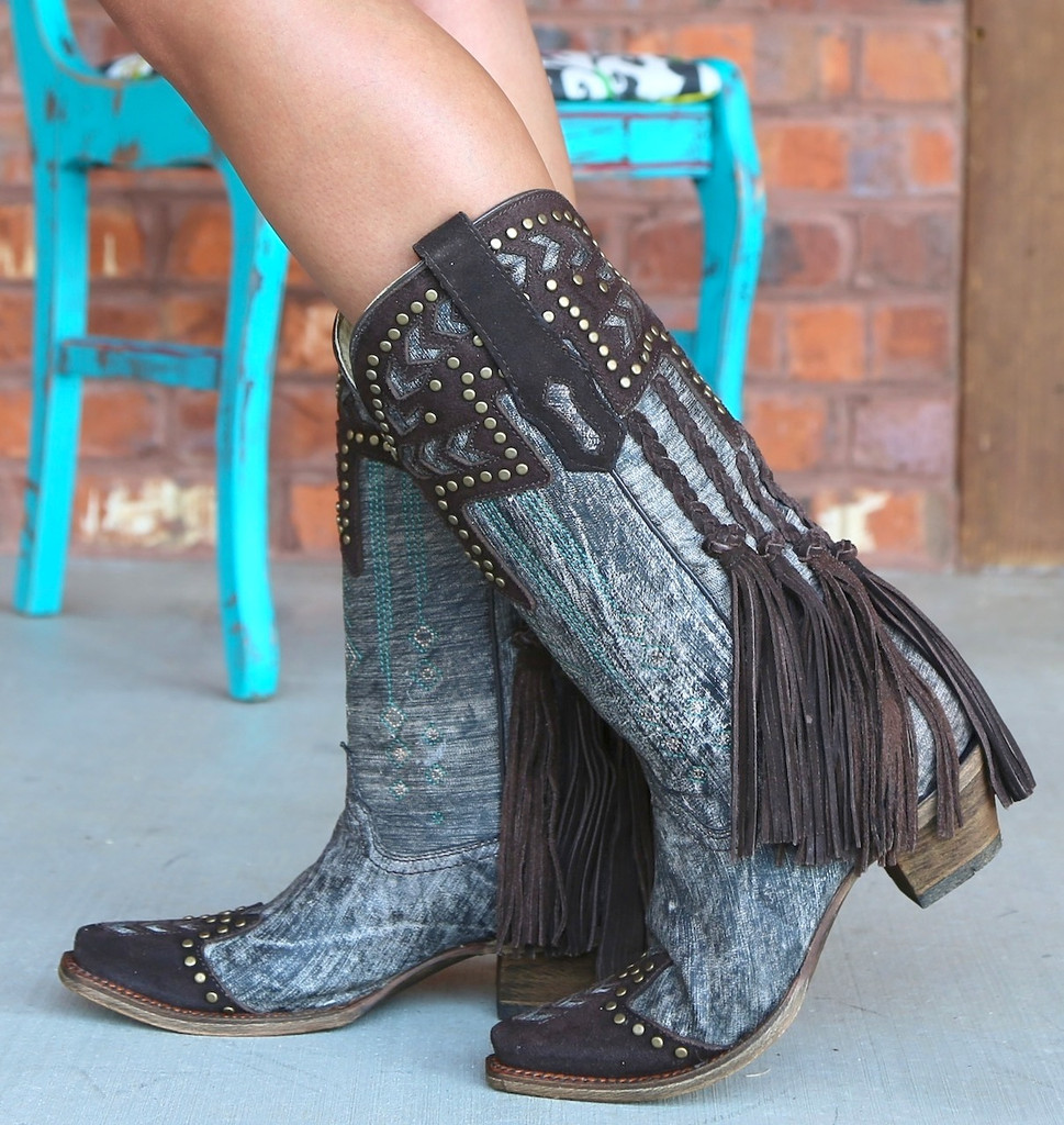 Corral Chocolate Back Braiding and Fringe Boots A3127 Image