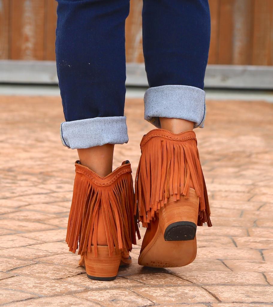 Liberty Black Short Fringe Boots Papaya LB71129 Heel