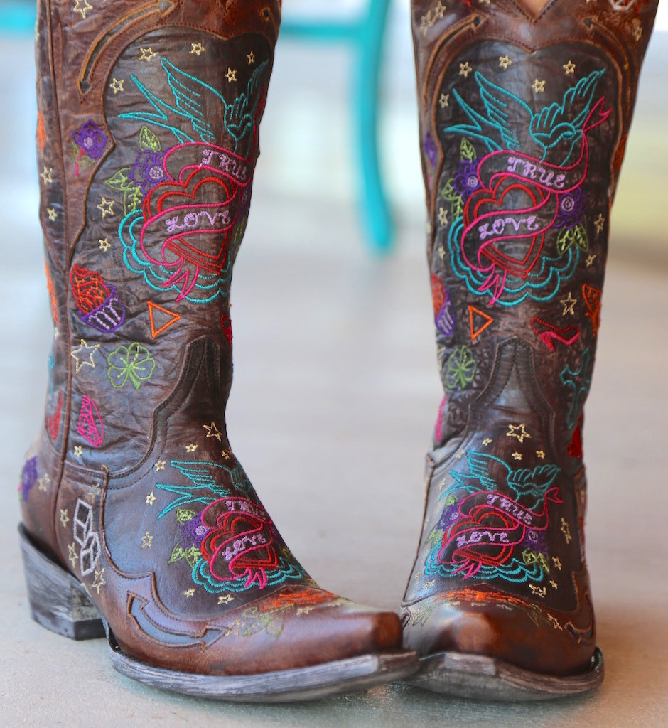 Old Gringo True Love Chocolate Boots L2467-1 Embroidery
